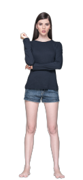 neushop women cotton t- shirt long sleeve navy