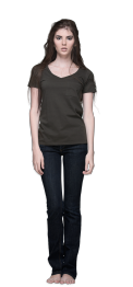 neushop women cotton t-shirt V- Neck foster Peat