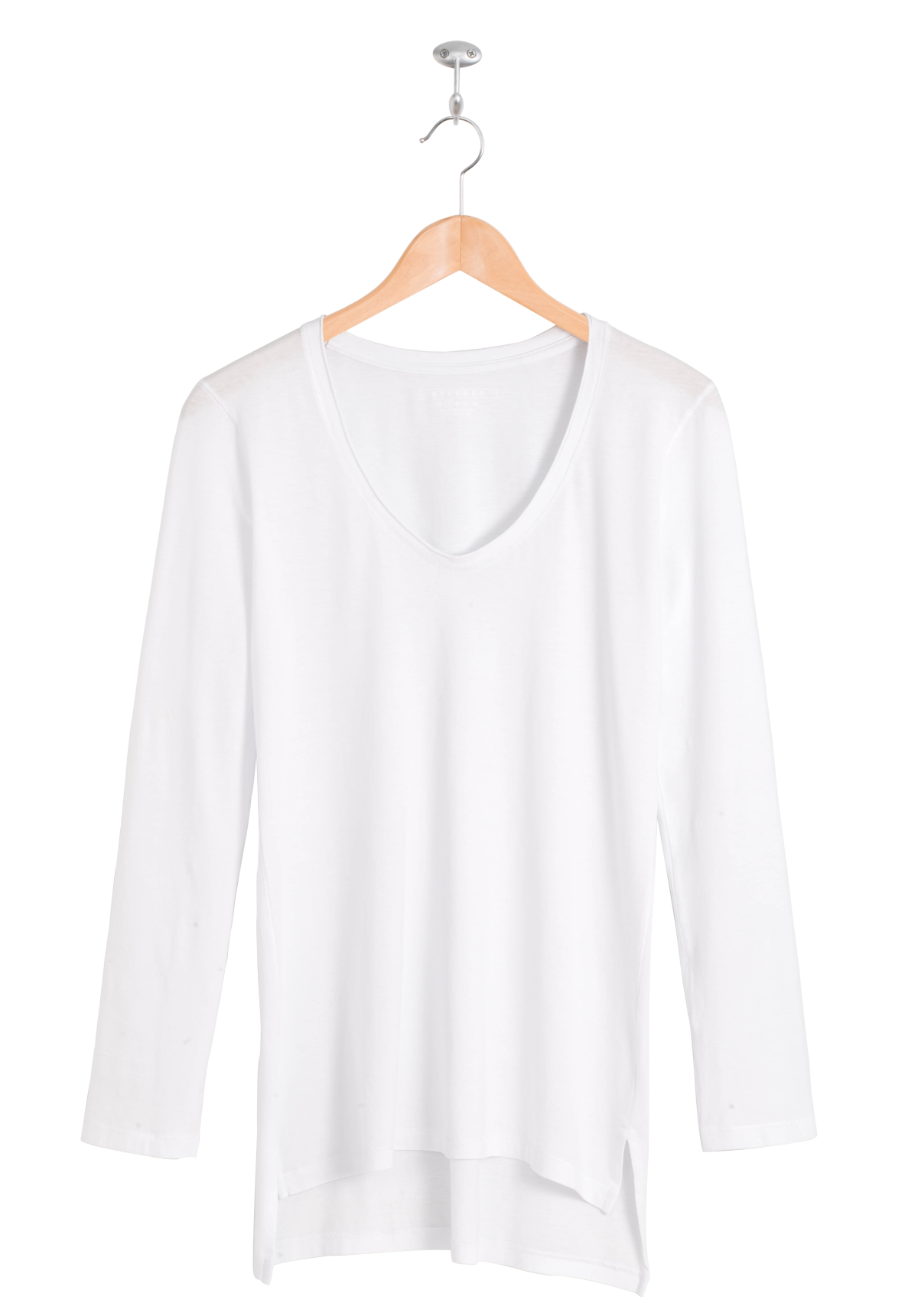 White cotton long sleeve t shirt custom shirt for Thick v neck t shirts