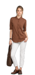 neushop-woman-hoffman-cotton-shirt-root-beer