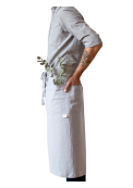 Garson Washed Linen Waist Apron Light Grey