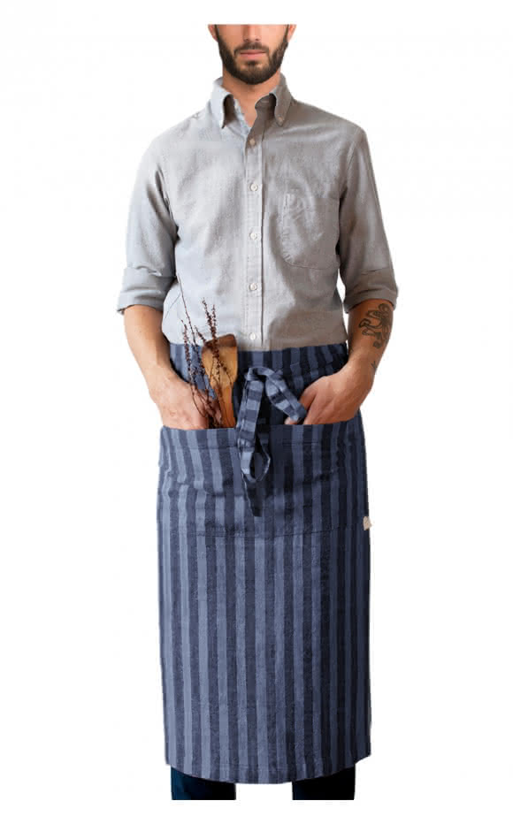 Garson Washed Linen Waist Apron Midnight Blue